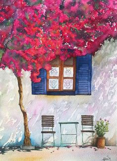 Lazy afternoon by rougealizarine Bodrum watercolor