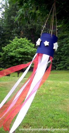 Tin Can Wind Sock - 4th of July or Flag Day Craft (can use painted or vinyl stars in place of wood)