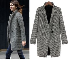 2014 otoño y el invierno mujeres abrigo de lana tweed de pata de gallo tejido de terciopelo engrosamiento prendas de vestir exteriores medio largo abrigo en Lana y Mezcla de Moda y Complementos Mujer en AliExpress.com | Alibaba Group
