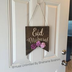 Wooden Eid Mubarak Sign Flowers Not Included Rustic Woodsign Wood Decor Door Hanger For Eid Decora