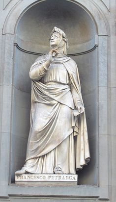 Francesco Petrarca or Petrarch (20 July 1304 – 19 July 1374) was an Italian scholar, poet, and early humanist. This 19th century statue stands on the facade of the Uffizi palace, in Florence, Italy. Own photo - photo made on 12 October 2005.