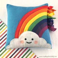 DIY Fleece Rainbow Pillow by craftingcheerfull. This pillow was created with a. DIY Fleece Rainbow Pillow by craftingcheerfull… This pillow was created with a mix of machine sew Baby Pillows, Kids Pillows, Throw Pillows, Baby Sewing Projects, Sewing For Kids, Pillow Crafts, Pillow Embroidery, Unicorn Pillow, Rainbow Crafts