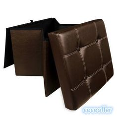 Ottoman Storage Rest Seat Folding Faux Leather Box Cube Foot Stool Cushion  Lid