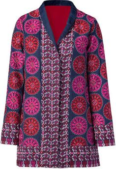 ShopStyle: Antik Batik Blue multicolor embroidered jacket