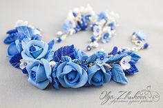 Blue roses polymer clay bracelet