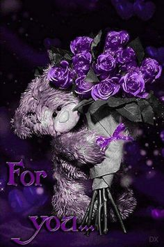 For you teddy bear purple Purple Love, All Things Purple, Purple Rain, Shades Of Purple, Purple Flowers, Pink Purple, Purple Stuff, Teddy Pictures, I Love You Pictures