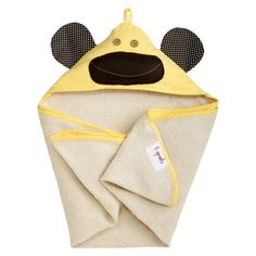 3 Sprouts Newborn/Infant Hooded Towel - Yellow Monkey : Target