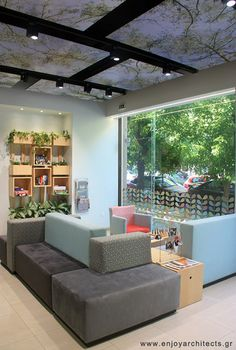 the versatile sofa designed by Paraskevi Papasotiriou of enjoy architects for the lobby - cafe of Polis Apartments Hotel