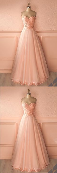 Simple pink strapless long sweet 16 prom dresses