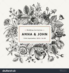 Vintage Elegant Wedding Invitation With Summer Flowers. Black And White Vector Illustration. - 190890176 : Shutterstock