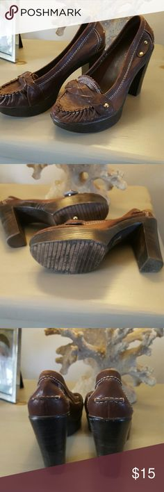Leather Platform Loafers EUC leather loafers with a wood platform bottom. Beautiful detail braided toe band with gold hardware LF Shoes Platforms
