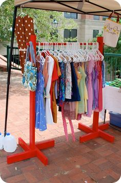 DIY clothing rack- for craft fairs.  Maybe one made from pipes?