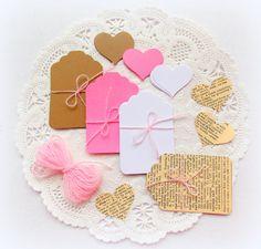 Pink Valentine's DIY Tag & Embellishment Kit by vintagescrapshop
