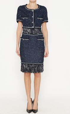 Chanel Navy And White Dress | VAUNTE