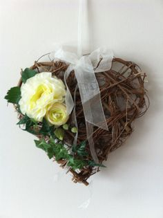 Rustic Twig Heart Decoration with Cream