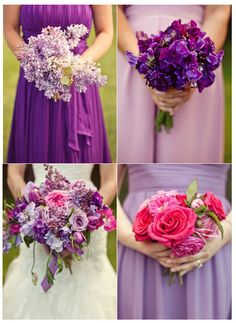mismatched bridesmaids bouquets    Give each of your bridesmaids a bouquet in one of the flowers that makes up the bride's blooms, so that together they are a deconstructed version of your bouquet!
