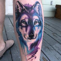 watercolor wolf tattoo © Justin Fulton Custom tattoo artist based in Houston, Tx.