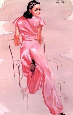 pink satin pinup