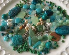 Bead Soup Mix Teal and Greens by MermaidsDesignStudio on Etsy, $6.99