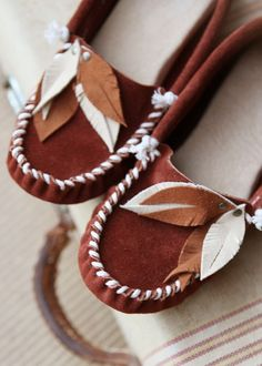 Rust Brown Feather Moccasins
