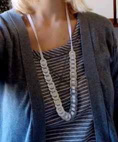 Homemade Washer Necklace.  Less than $3 and 1 hour.  Super easy and cute!  I get compliments all this all the time!