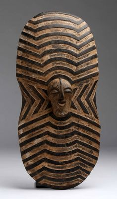 Africa   'Ngabo' sheild from the Songye people of DR Congo   Mid 20th century   Wood and pigments