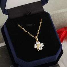 45.5cm 18K Gold Plated Clover Design Inlay White Zircon Pendant Copper Necklace