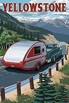 Amazon.com: Yellowstone, Montana - Retro Camper (12x18 Art Print, Wall Decor Travel Poster): Wall Art