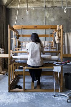 ADELE STAFFORD's studio in Oakland, California. She hand weaves all her work on her Ahrens Violette mechanical dobby loom #makers #workspace #adelineloves