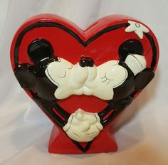 Vintage Minnie Mickey Mouse Ceramic Bank Walt Disney Productions Figures Gift for Collector, Kissing, Love, Gift for her, Valentines Day