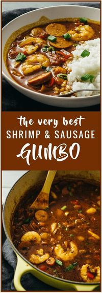 This shrimp and sausage gumbo is an easy one-pot recipe. It tastes just like authentic New Orleans gumbo but is made with common ingredients.