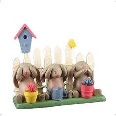 Springhaven Lake Figurine 3 Bunnies and a Fence by Russ $9.99 #orangeonions