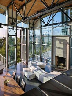 ♂ Masculine living room high ceiling loft nature lighting