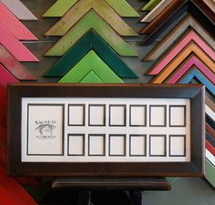 "7.5 x18-inch ""School Days"" Frame with Mat Window Openings for (1) 3.5x5 and (12) 1.5x2"" Photos in 2-tone Style and Colors OF YOUR CHOICE on Etsy, $43.45"