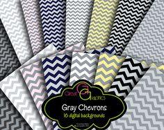 Gray Chevron Backgrounds, chevron digital backgrounds,  chevron pattern digital paper, printable chevron pattern