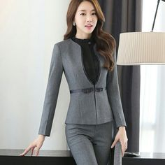 Two Piece Formal Pant Suit Full Sleeve Office Lady Uniform Design Women Business Suits Gray Blazer With Trouser For Work Business Outfits, Business Attire, Business Women, Business Lady, Suit Fashion, Work Fashion, Cheap Fashion, Formal Pant Suits, Pantsuits For Women
