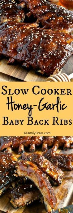 Slow Cooker Honey-Garlic Baby Back Ribs – Easy and super delicious! This will be… Slow Cooker Honey-Garlic Baby Back Ribs – Easy and super delicious! This will become your new favorite ribs recipe! Crock Pot Recipes, Pork Recipes, Slow Cooker Recipes, Cooking Recipes, Slow Cooker Ribs Recipe, Slow Cooker Ribs Easy, Recipies, Slow Cooked Ribs, Paleo Recipes