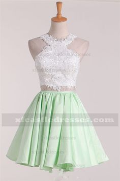 2017 Lace Two Piece Homecoming Dresses A Line Halter Prom Dress ZPEH121