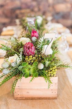 Planning a rustic wedding filled to the brim with fynbos and burlap and cute 'down on the farm' touches? Well then, this one's for you, brideys! Christel and Andries, farm lovers … Rustic Wedding Centerpieces, Wedding Table Centerpieces, Flower Centerpieces, Wedding Decorations, Centrepieces, Centerpiece Ideas, Protea Wedding, Floral Wedding, Wedding Flowers