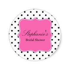 Black, White and Hot Pink Polka Dot Bridal Shower Round Stickers