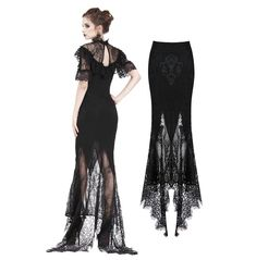Gothic Lace Patterned Swallow Tail Skirt With Wrap Up Buttocks Design - Dentelle diy couture Hipster Grunge, Grunge Style, Goth Style, Gothic Outfits, Gothic Dress, Grunge Outfits, Gothic Pants, Gothic Leggings, Moda Outfits