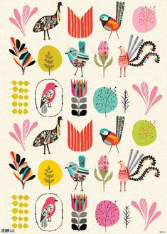 "beautiful wrapping papper design called ""Garden Party"" by Australian design company Inaluxe. i really like that they have designed the flowers and bird to be extra large so that all the details can be seen."