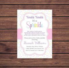Pink Baby Girl Sprinkle Invitation Sprinkles Pink Baby | Etsy Baby Girl Sprinkle, Hannah Williams, Baby Sprinkle Invitations, Digital Invitations, Twinkle Twinkle, Sprinkles, Frame, Pink, Etsy