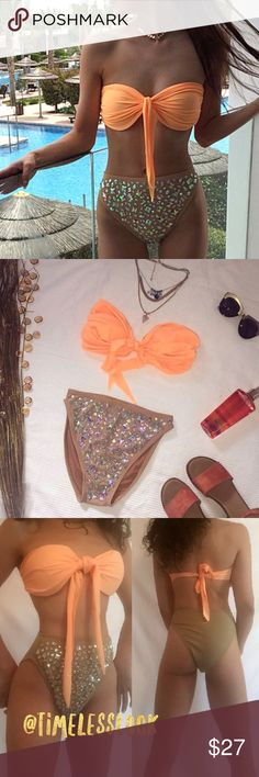 """Embellished rhinestone jeweled bikini set strappy Sexy jeweled Vegas gal bikini set   •silky nylon - spandex mix fabric - double lined  •brand new  •ships tomorrow •boutique brand - timeless look •no trades  •material: silky nylon - poly- spandex mix fabric - double lined and has molded padding Top OS  XS -2-4 waist 22-24 S- 2-4 waist 24-26  @goguios in insta  (account manager) modeling xs  Please visit """"Closet Rules"""" for more info about us :) Swim Bikinis"""