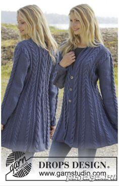 "Knitted DROPS jacket in ""Karisma"" with cable pattern and scarf .- Gestrickte DROPS Jacke in ""Karisma"" mit Zopfmuster und Schalkragen. Größe … Knitted DROPS jacket in ""Karisma"" with cable pattern and shawl collar. Sizes S – XXXL. Crochet Jacket, Knit Jacket, Knit Crochet, Knit Cowl, Crochet Granny, Wool Cardigan, Hand Crochet, Knitting Patterns Free, Knit Patterns"