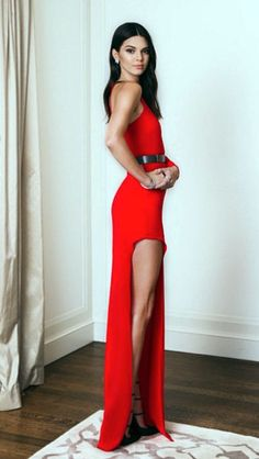 Kendall Jenner looks skinny In red dress                                                                                                                                                                                 More