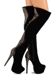 Devon-Black-Velvet-Thigh-High-#Boots-Studded-Platform-#Heels