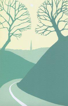 Salisbury from Old Sarum Screenprint by Ian Scott Massie   Artfinder