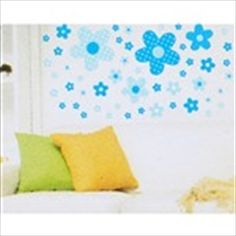 DIY Self-Adhesive Removable Wall Sticker Decal Wallpaper House Interior Decor - Blue Flowers Theme