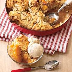 Serve this warm peach cobbler with ice cream for a sweet summer treat and watch as the entire skillet disappears, scoop by scoop.